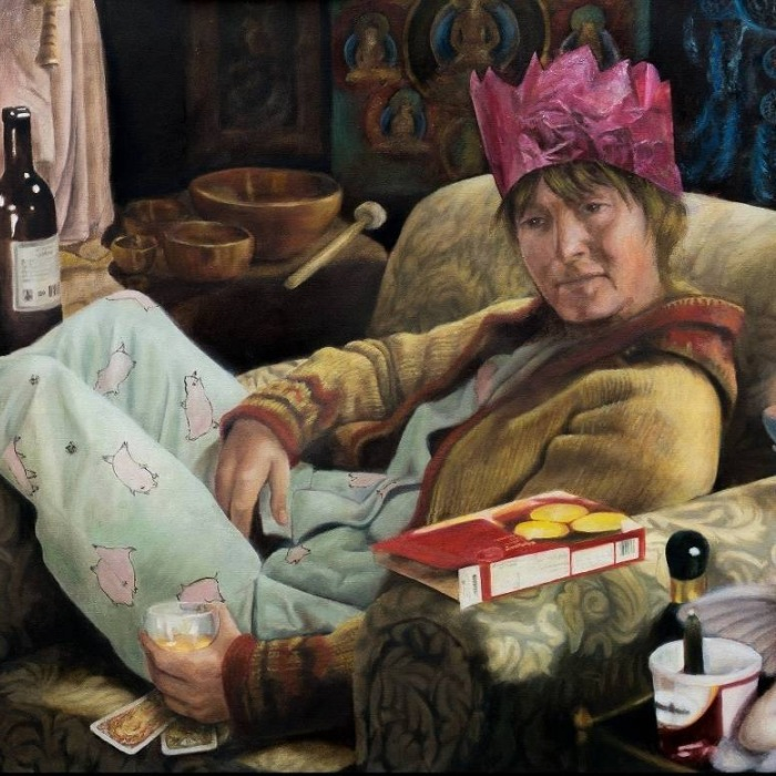 """Anders, Petra: """"Zum Frühstück Schokolade"""" (Öl auf Leinwand, 110 x 70 cm)"""